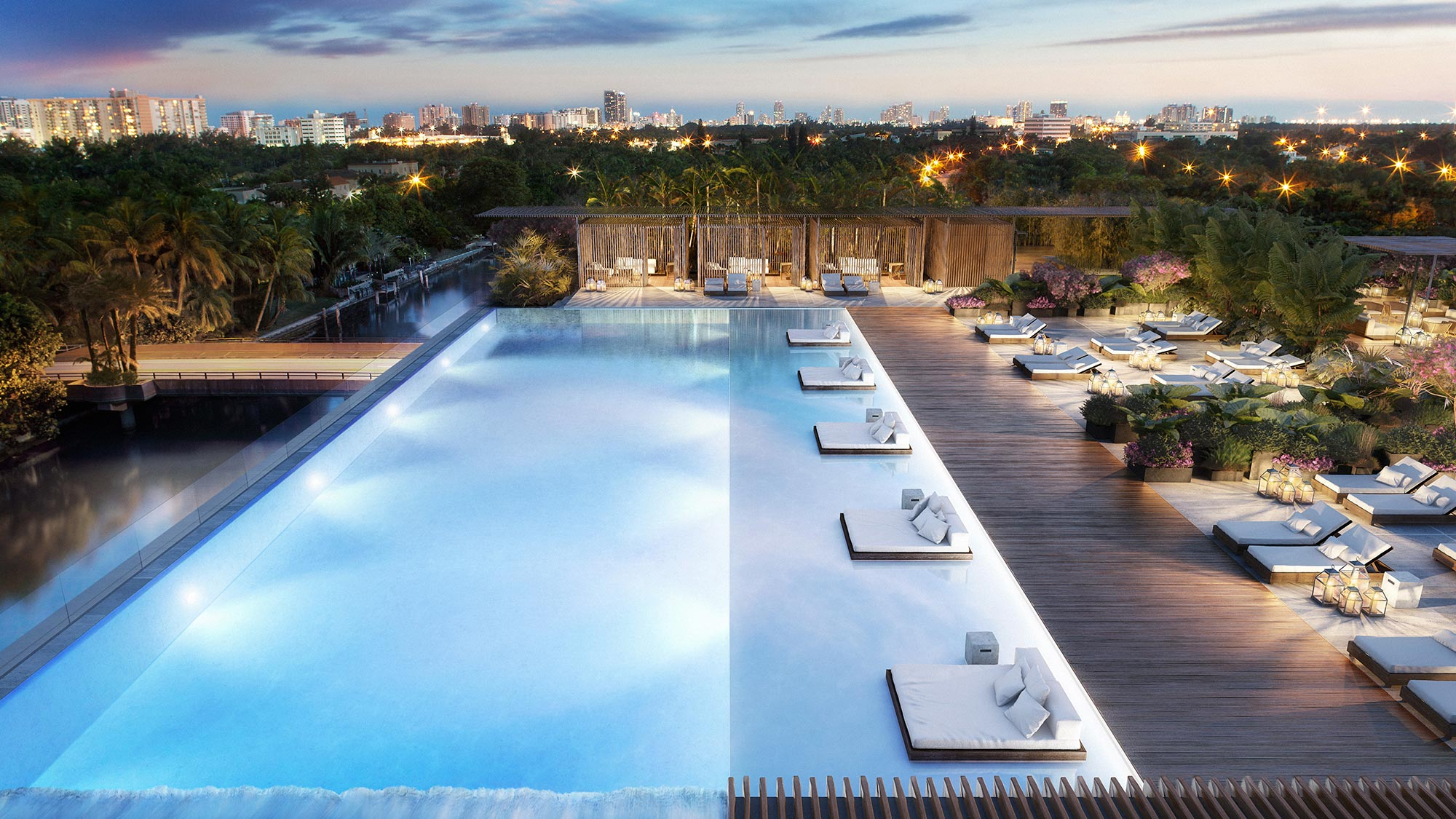 Private Rooftop Pool at the New Miami Beach condos for sale at The Ritz-Carlton Residences, Miami Beach