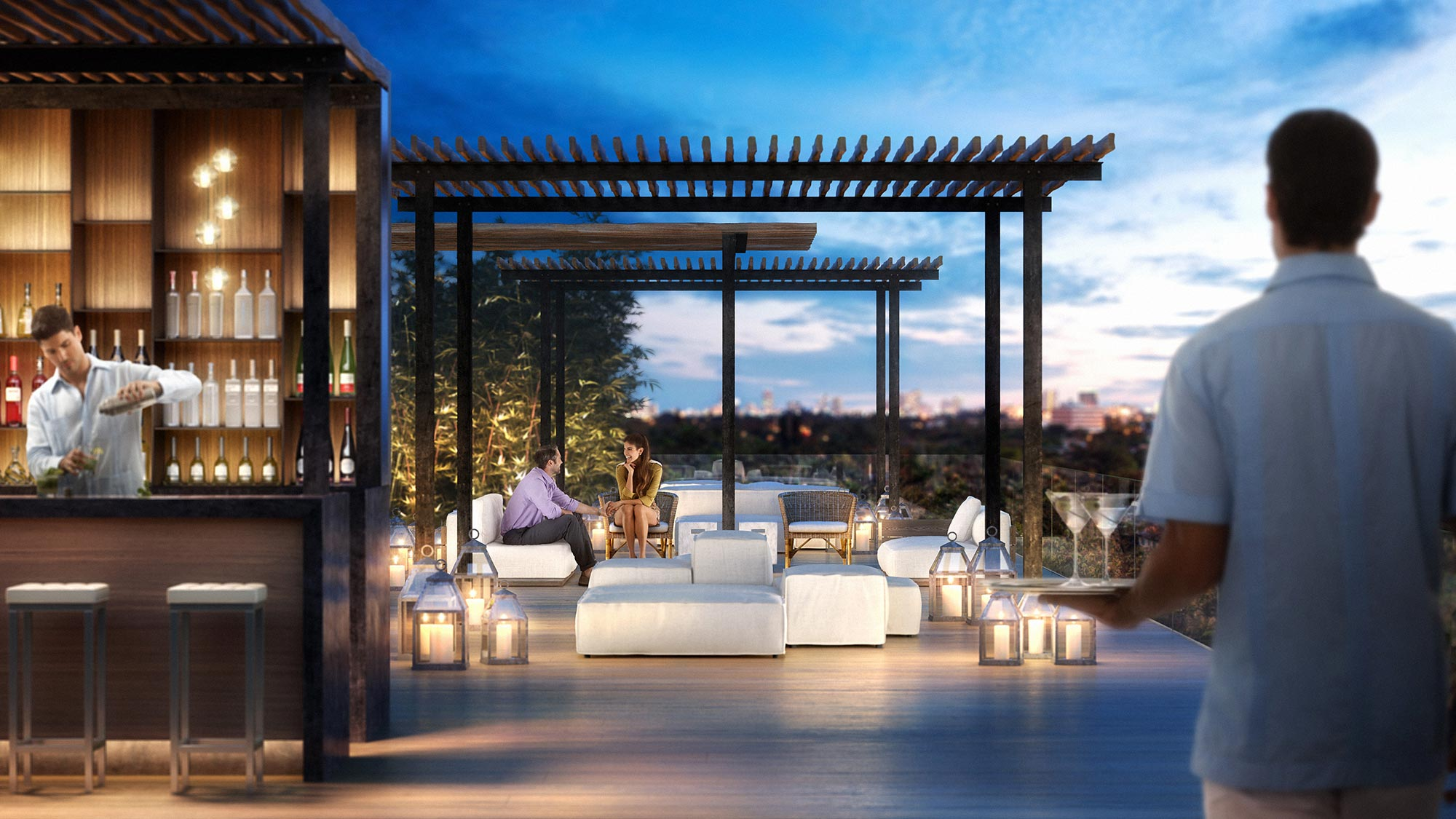 Rooftop Pool Bar at the Miami luxury condos of The Ritz-Carlton Residences, Miami Beach