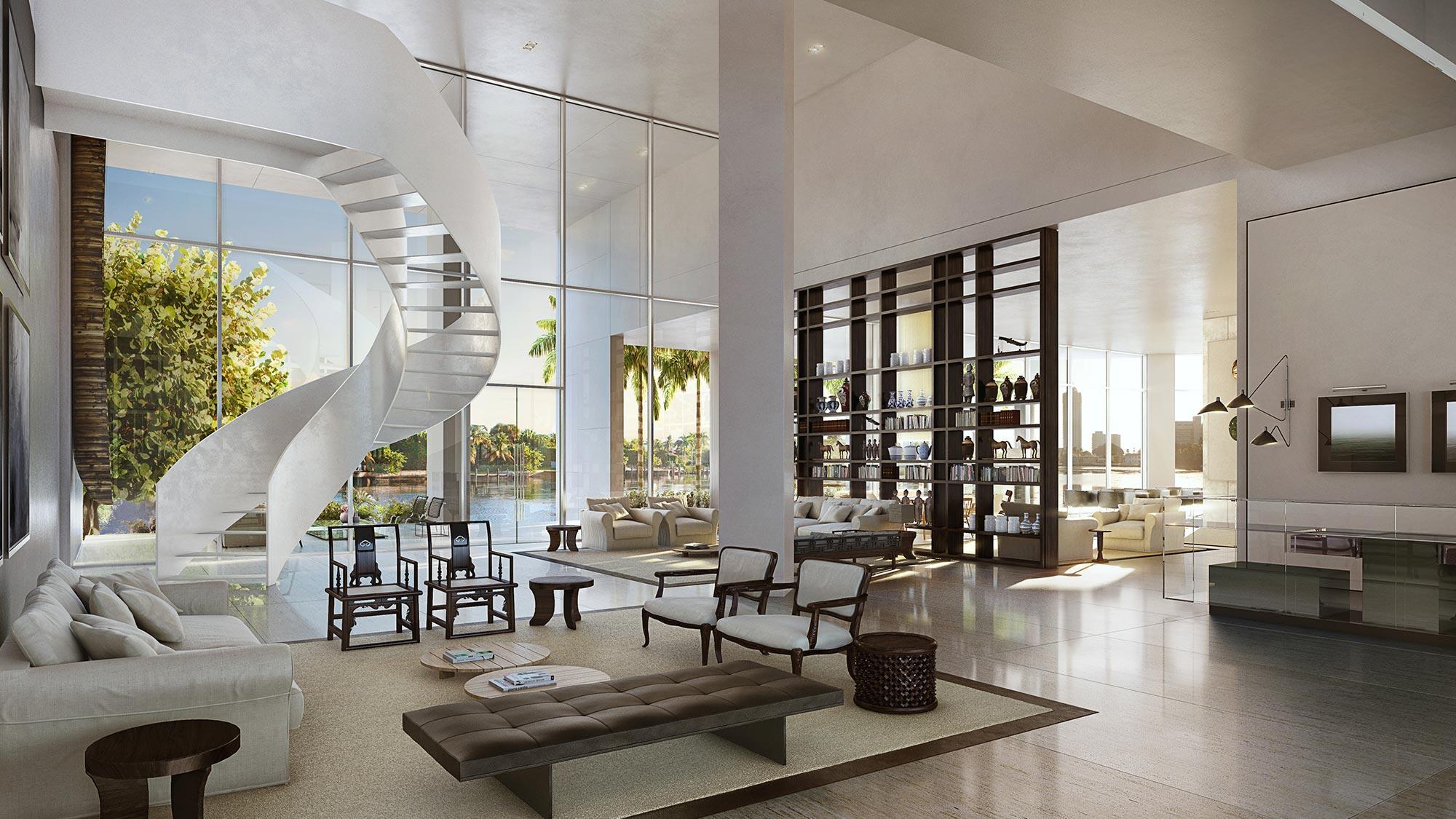 Grand Lobby at the new homes in Miami at The Ritz-Carlton Residences, Miami Beach