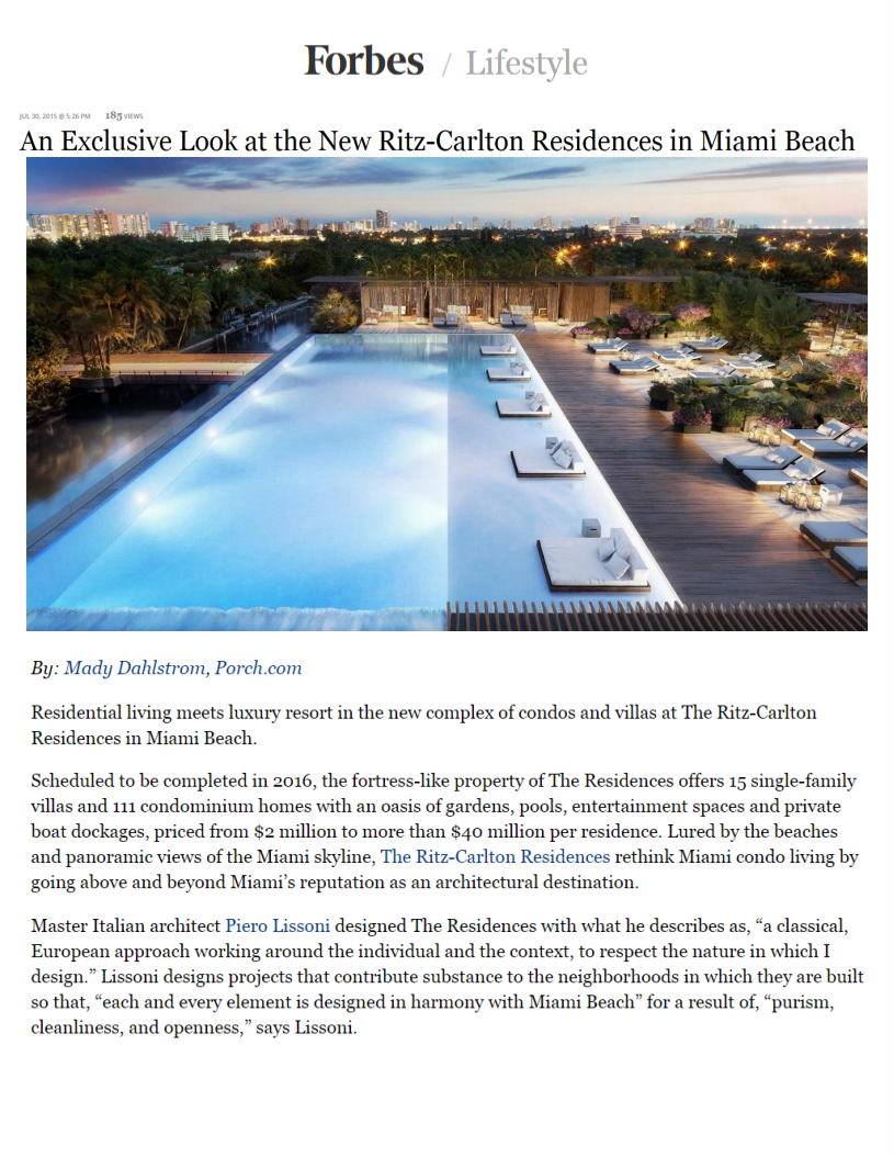 AN EXCLUSIVE LOOK AT THE NEW RITZ CARLTON RESIDENCES IN MIAMI BEACH