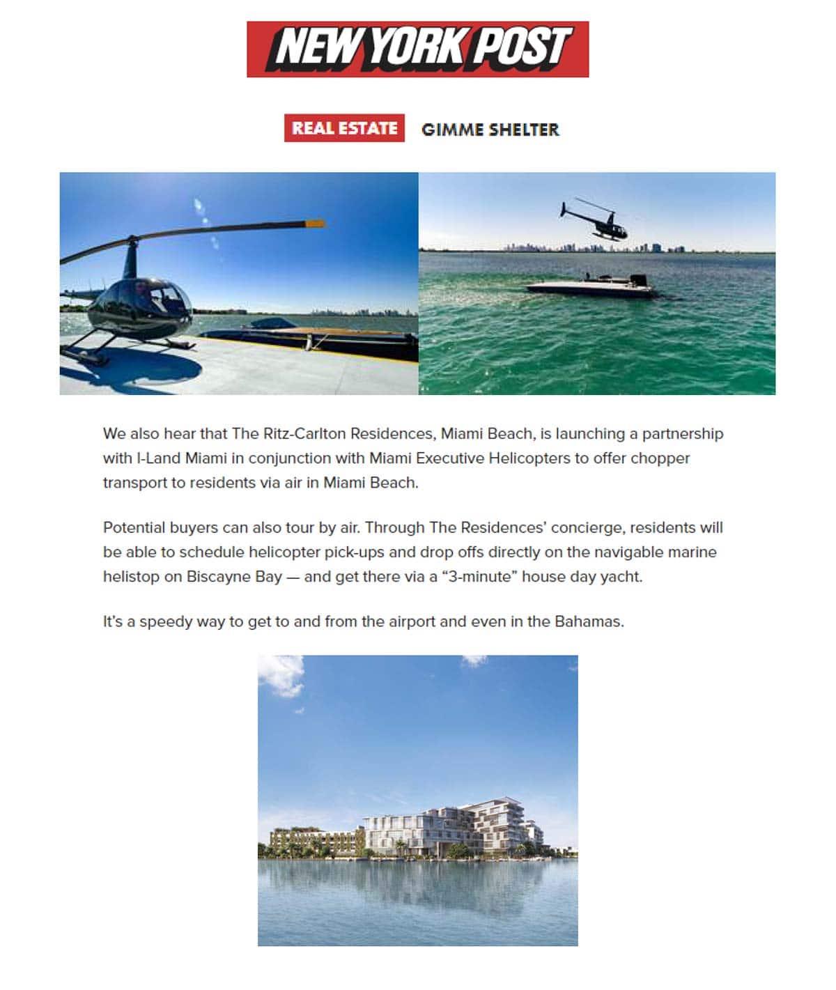 The Ritz-Carlton Residences, Miami Beach in the NY Post
