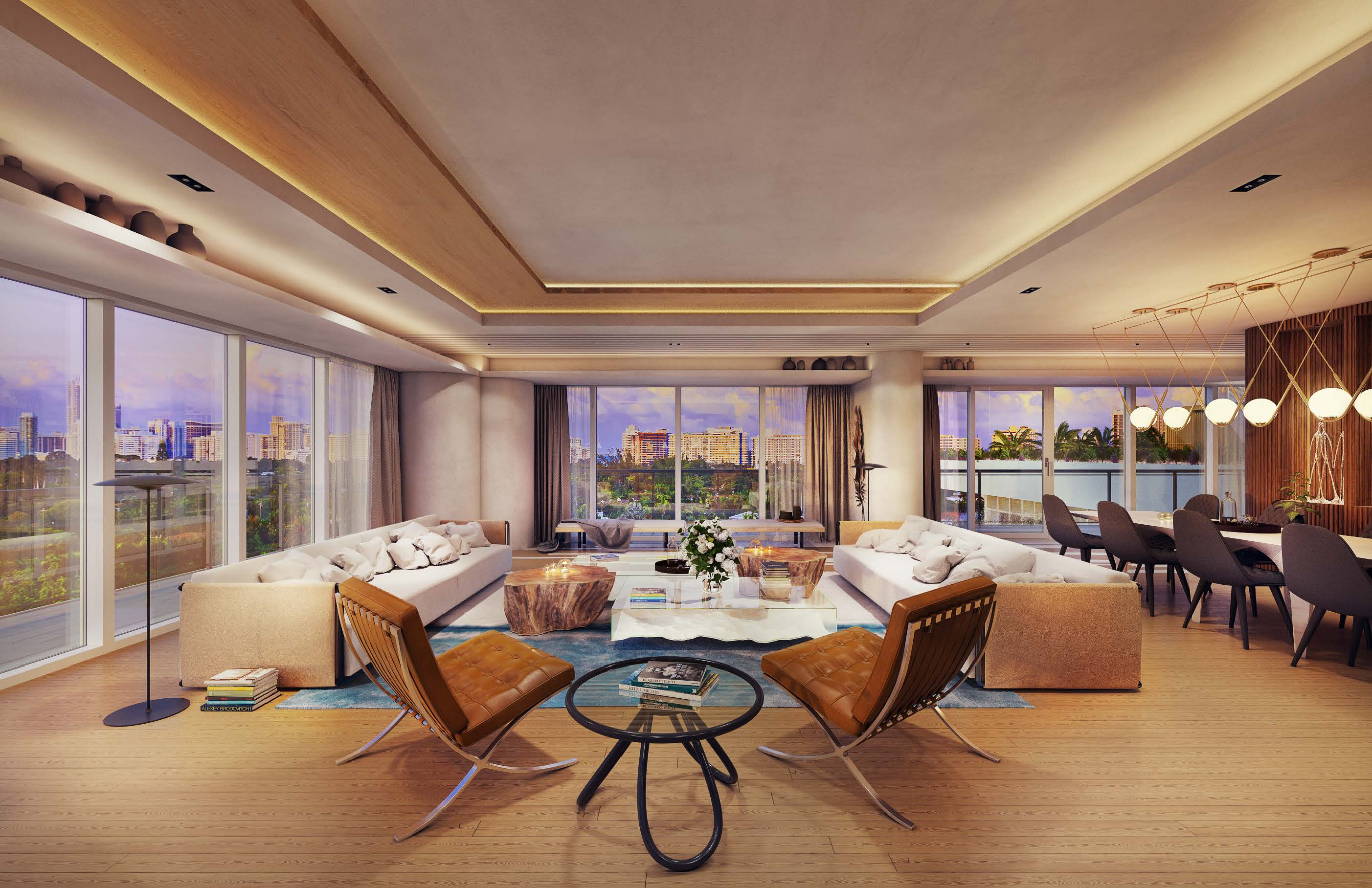 mike piazza ritz carlton residences miami beach Penthouse Living Room